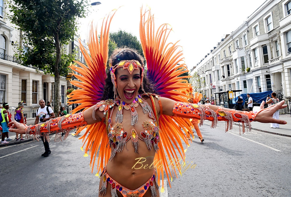 LONDON, ENGLAND - AUGUST 29: A performer joins in the celebrations during the Notting Hill Carnival on August 29, 2016 in London, England. The Notting Hill Carnival has taken place every year since 1966 in Notting Hill in north-west London and is one of the largest street festivals in Europe with more than a million people expected over two days. (Photo by Ben A. Pruchnie/Getty Images)