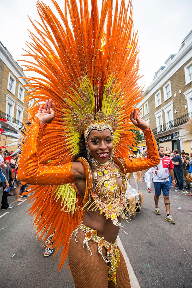 LONDON, ENGLAND - AUGUST 29: A performer takes part in the Notting Hill Carnival on August 29, 2016 in London, England. The Notting Hill Carnival, which has taken place annually since 1964, is expected to attract over a million people. The two-day event, started by members of the Afro-Caribbean community, sees costumed performers take to the streets in a parade and dozens of sound systems set up around the Notting Hill streets. (Photo by Jack Taylor/Getty Images)