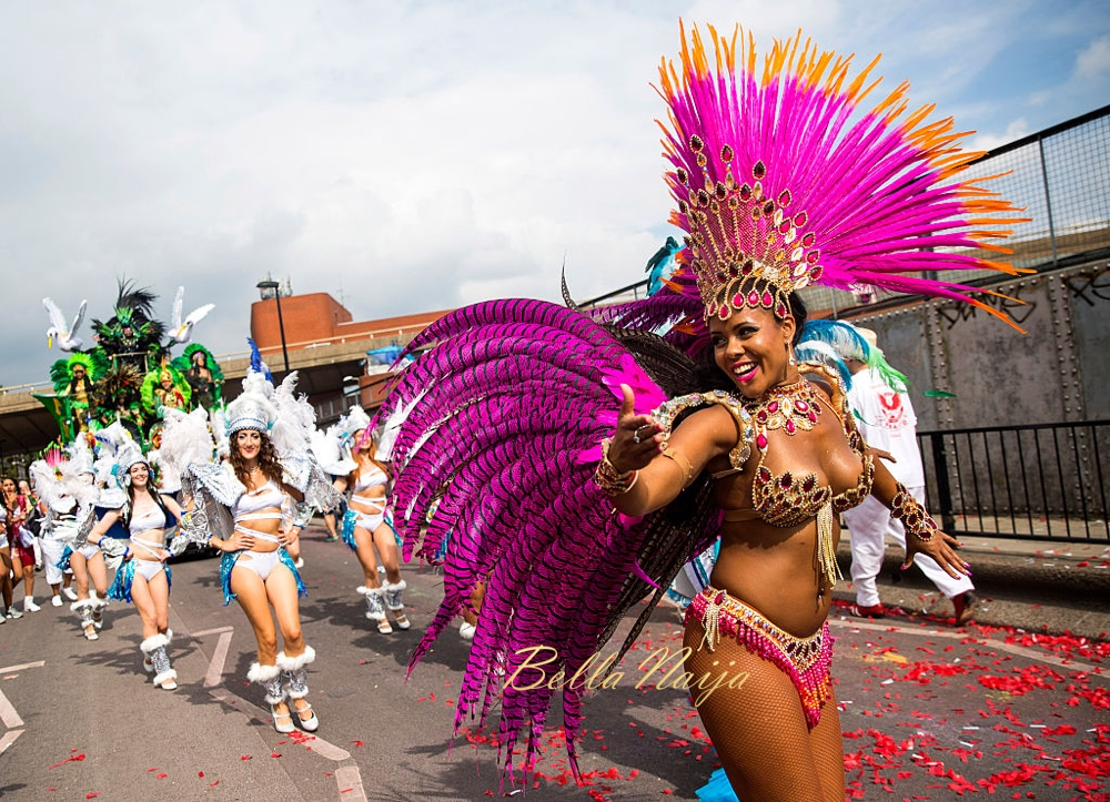 LONDON, ENGLAND - AUGUST 29: Performers take part in the Notting Hill Carnival on August 29, 2016 in London, England. The Notting Hill Carnival, which has taken place annually since 1964, is expected to attract over a million people. The two-day event, started by members of the Afro-Caribbean community, sees costumed performers take to the streets in a parade and dozens of sound systems set up around the Notting Hill streets. (Photo by Jack Taylor/Getty Images)