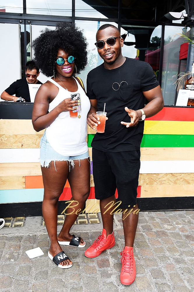 LONDON, ENGLAND - AUGUST 29: Nana Acheampong (L) and a guest attend the Converse party at Notting Hill Carnival to celebrate the new carnival inspired Converse Custom Chuck Taylor All Stars, designed by leading British music talent Lady Leshurr, Nadia Rose and Clara Amfo at Dock Kitchen on August 29, 2016 in London, England. (Photo by David M. Benett/Dave Benett / Getty Images for Converse)
