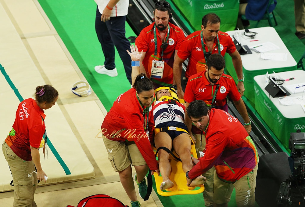 RIO DE JANEIRO, BRAZIL - AUGUST 06:  Samir Ait Said of France receives medical attention after breaking his leg while competing on the vault during the Artistic Gymnastics Men's Team qualification on Day 1 of the Rio 2016 Olympic Games at Rio Olympic Arena on August 6, 2016 in Rio de Janeiro, Brazil.  (Photo by Scott Halleran/Getty Images)
