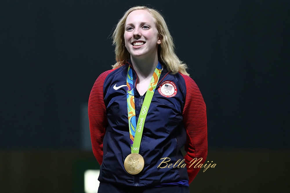 RIO DE JANEIRO, BRAZIL - AUGUST 06: Virginia Thrasher of the United States celebrates after winning the gold medal in the 10m Air Rifle Women's Finals on Day 1 of the Rio 2016 Olympic Games at the Olympic Shooting Centre on August 6, 2016 in Rio de Janeiro, Brazil. (Photo by Sam Greenwood/Getty Images)