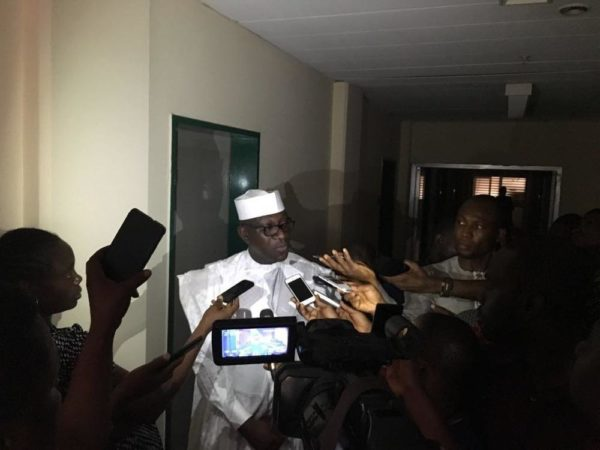 Hon Jibrin Speaking to Correspondents after the meeting with PACAC