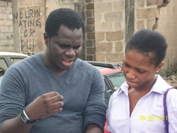 Chris Ihidero with Zara on the set of Big Daddy