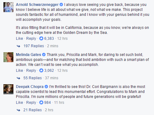 Comments on Zuckerberg Post