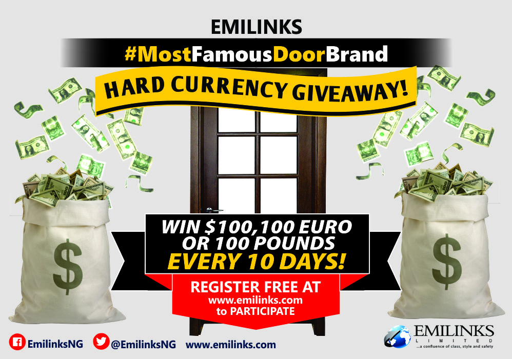 It's Day 5 of Round 2 in the #Emilinks #MostFamousDoorBrand Giveaway! 10 Nigerians will WIN $100, £100 or €100 each Every 10 Days
