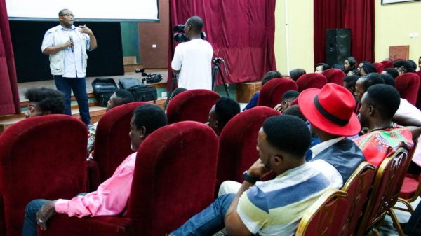 Ernest Nwokolo enlightening the auditionees on malaria prevention and treatment