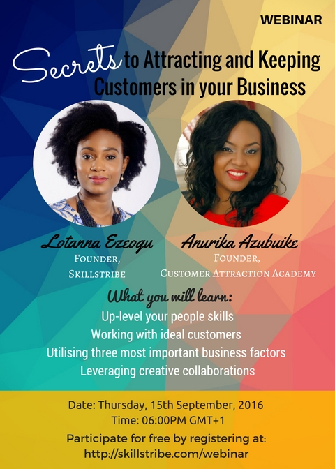 Flyer for webinar, Lotanna + Anurika
