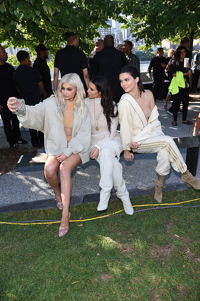 NEW YORK, NY - SEPTEMBER 07:  Kylie Jenner, Kim Kardashian, and Kendall Jenner attend the Kanye West Yeezy Season 4 fashion show on September 7, 2016 in New York City.  (Photo by Jamie McCarthy/Getty Images for Yeezy Season 4)