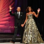 (L-R) President Barack Obama and Michelle Obama arrive at the Phoenix Awards Dinner at Walter E. Washington Convention Center on September 17, 2016 in Washington, DC. (Photo by Earl Gibson III/Getty Images)