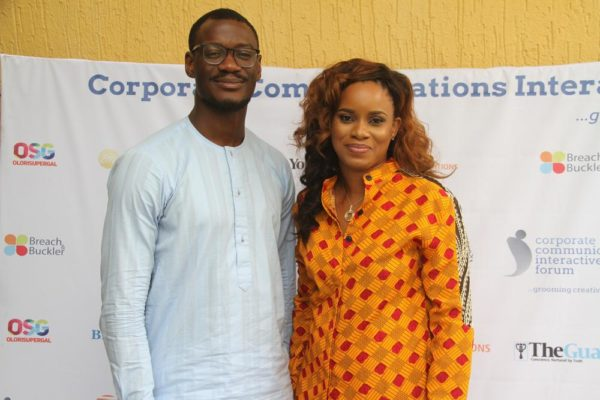 L-R: Tomiwa Aladekomo of Ventra Media Group and Tampiri-Irimagha Akemu at the CCIF