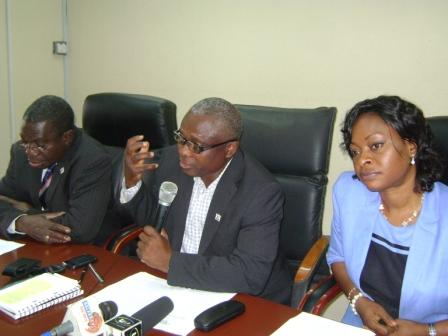 Lagos State Health Commissioner, Jide Idris, Addressing the Press Conference