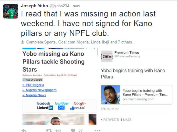 Joseph Yobo Tweet