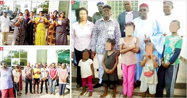 Kidnappers' reign of terror in Benue: Photo (1) Parents with photographs of their abducted relations (2) Arrested kidnappers (3) Benue State Governor, Samuel Ortom, some state officials with rescued kidnap victims. Photos: Attah Ede