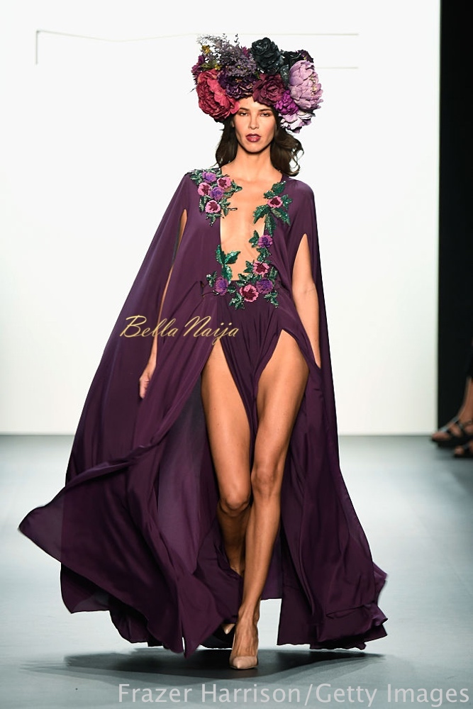 NEW YORK, NY - SEPTEMBER 08: A model walks the runway at the Michael Costello fashion show during New York Fashion Week: The Shows September 2016 at The Dock, Skylight at Moynihan Station on September 8, 2016 in New York City. (Photo by Frazer Harrison/Getty Images for New York Fashion Week: The Shows)