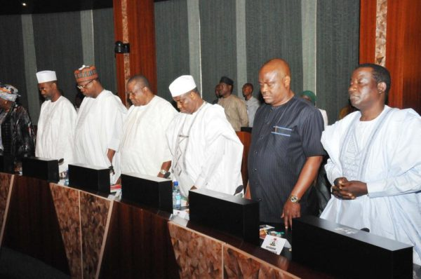 PIC.12. STATE GOVERNORS PRAYING DURING THE COUNCIL OF STATE MEETING AT THE PRESIDENTIAL VILLA IN ABUJA ON WEDNESDAY (7/9/16). 6817/7/9/2016/ICE/BJO/NAN