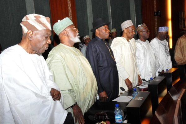 PIC.4. FROM LEFT: FOMER HEAD OF THE INTERIM NATIONAL GOVERNMENT, CHIEF ERNERST SHIONEKAN; FORMER HEAD OF STATE, GEN. ABDULSALAMI ABUBARKAR; FORMER PRESIDENT GOODLUCK JONATHAN; FORMER CHIEF JUSTICES OF NIGERIA, JUSTICE LAWAL UWAIS; JUSTICE ALPHA BELGORE; AND JUSTICE IDRIS KUTIGI, DURING THE COUNCIL OF STATE MEETING AT THE PRESIDENTIAL VILLA IN ABUJA ON WEDNESDAY (7/9/16). 6809/7/9/2016/ICE/BJO/NAN