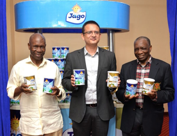 L-R The Chairman, Sosaco Nigeria Limited, Mr. Francis Ogboro, the Managing Director, Sosaco Nigeria Limited, Mr. Shailesh Kumar and the Special Guest, Mr. Mathew Ogboro at the launch of the new Jago Gold and the unveiling of the New Pack Design for Jago D'lite held at Sheraton Hotel, Ikeja , Lagos on Saturday.