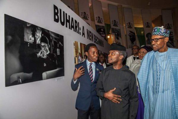 L-R: Bayo Omoboriowo, VP Yemi Osinbajo, President Muhammadu Buhari