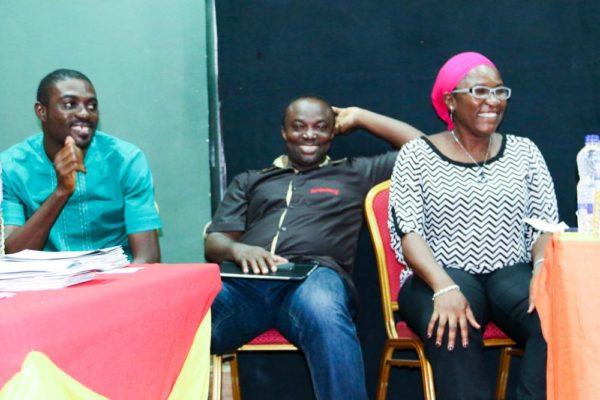 SFH Representatives_ Gbue Denen Daniel, John Ocholi and Mopelola Raji observing the audition process