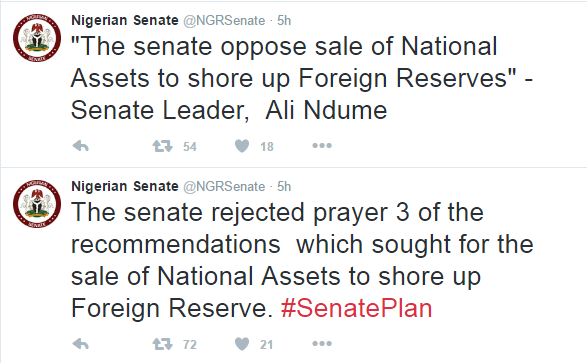 Senate Reject Sale of Assets