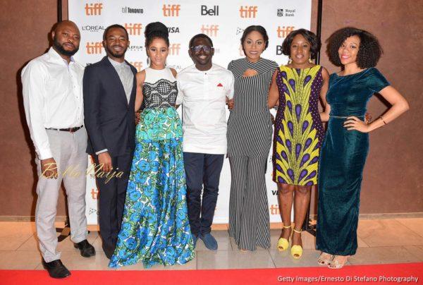L-R Producer Naz Onuzo, Actor O.C. Ukeje, Actor Adesua Etomi, Director Niyi Akinmolayan, Actor Somkele Idhalama, Actor Iretiola Doyle and Producer Omotayo Adeola