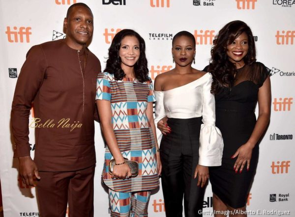 Masai Ujiri, General Manager of the Toronto Raptors, wife Ramatu Ujiri, actress Zainab Balogu and director Kemi Adetiba