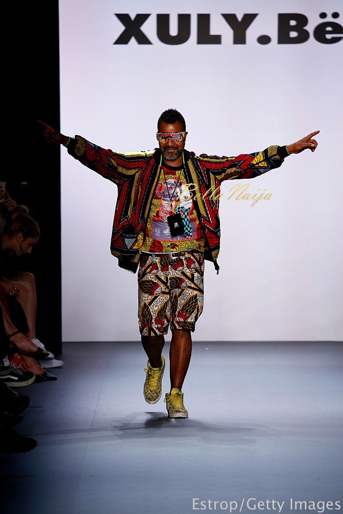 NEW YORK, NY - SEPTEMBER 14: Designer Lamine Badian KouyatÈ walks the runway at the Xuly Bet show designed by Lamine Badian KouyatÈ at The Dock, Skylight at Moynihan Station on September 14, 2016 in New York City. (Photo by Estrop/Getty Images)