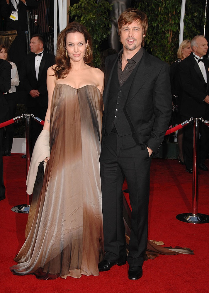 LOS ANGELES, CA - JANUARY 27: Actress Angelina Jolie and Actor Brad Pitt arrives to the 14th Annual Screen Actors Guild Awards at the Shrine Auditorium on January 27, 2008 in Los Angeles, California. (Photo by Steve Granitz/Getty Images)