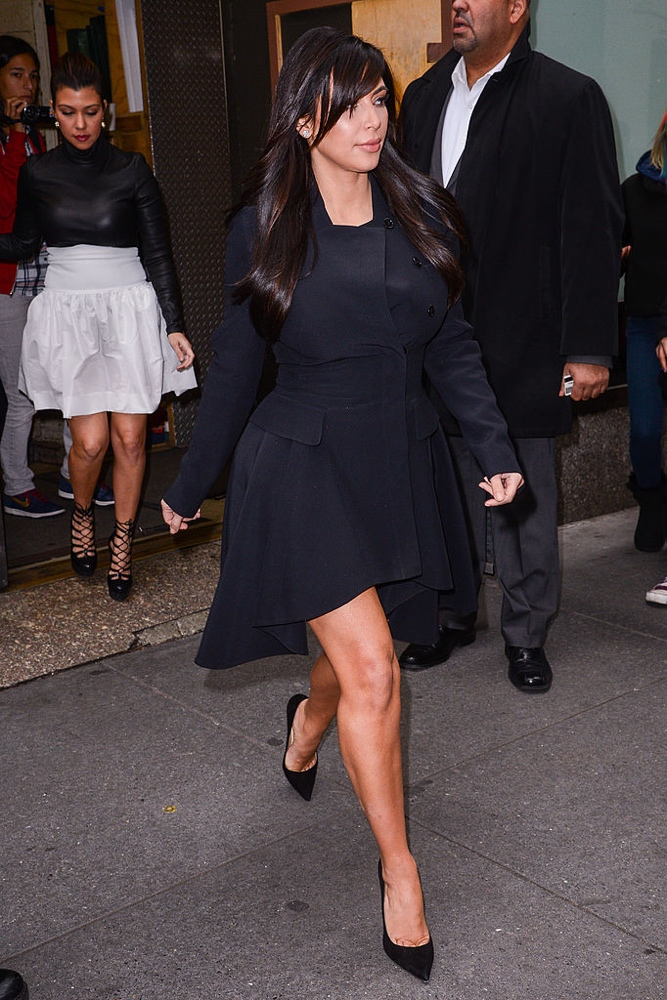 "NEW YORK, NY - JANUARY 15: TV personality Kim Kardashian leaves the ""Today Show"" taping at the NBC Rockefeller Center Studios on January 15, 2013 in New York City. (Photo by Ray Tamarra/Getty Images)"