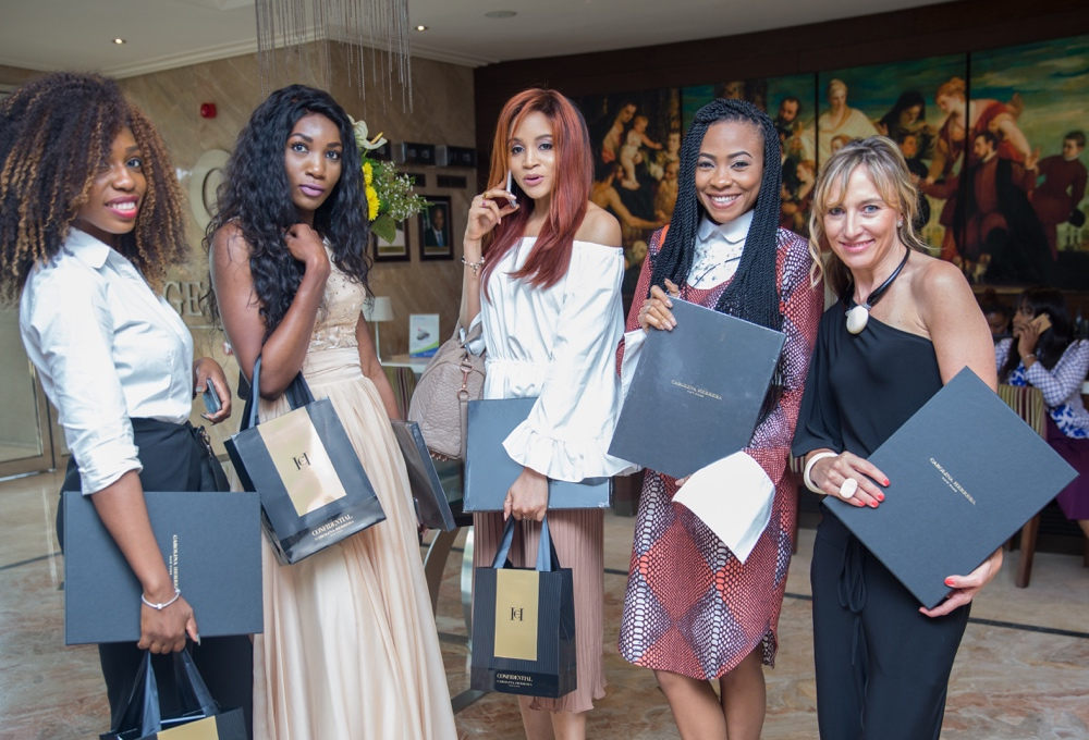 carolina herrera fragrance launch_Excited Guests with their gifts_bellanaija