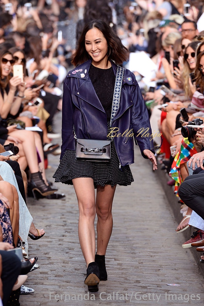NEW YORK, NY - SEPTEMBER 10: A model walks the runway at the Rebecca Minkoff fashion show during New York Fashion Week: The Shows September 2016 at Magnum New York on September 10, 2016 in New York City. (Photo by Fernanda Calfat/Getty Images for TRESemme)