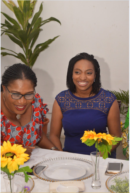 L-R: Oluwatoyin Sanni, Group CEO, United Capital Plc and Dr. Jumoke Oduwole share a laugh at brunch