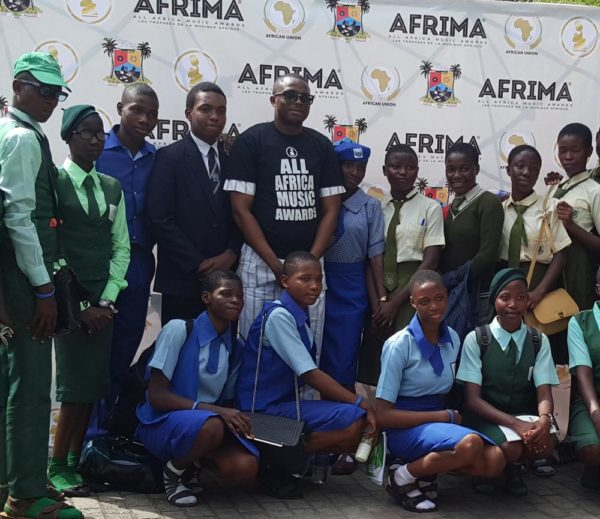 Cross Section of some of the Participating Students with the Country Director, Nigeria, AFRIMA, Mr. Kingsley James During the 2016 Felabration School Debate held in Lagos on Wednesday.