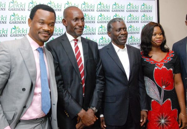 L-R: The Chief Technical Officer, Lekki Gardens Estate Limited, Andrew Jibunoh, the Managing Director/Chief Executive Officer, Richard Nyong, the Board Chairman, Arobo Kalango and the Chief Operating Officer, Christy Amida at a special media parley held by the company in Lagos on Friday.