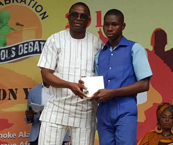 Country Director, AFRIMA, Mr. Kingsley James; One of the partcipating student of the Felabration debate