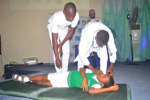 A scene from a Fight Against Malaria Playlet by students of St Patricks College, Calabar