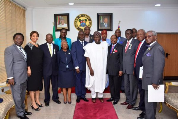 Lagos State Governor Akinwunmi Ambode in a group photo with the Executive Council of the Nigerian-British Chamber of Commerce during a courtesy visit to the Governor, at the Lagos House, Ikeja, on Tuesday, October 25, 2016