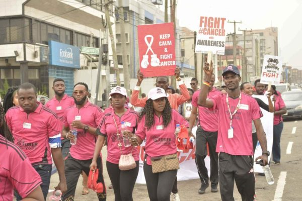 Annie Idibia, Moc Madu and Runcie C.W. Chidebe, Executive Director of Project PINK BLUE at the Pink October Walk in Ikeja Lagos