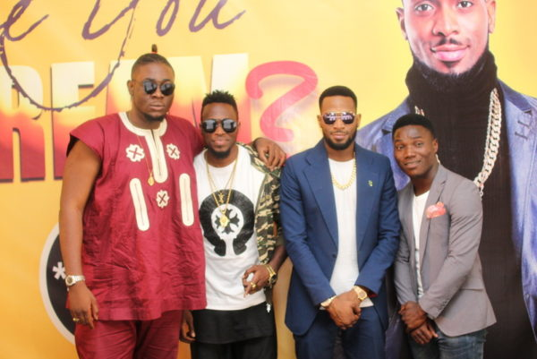 CREAM winners, Ifeachor Afoamachukwu (CheekyChizzy), Torkuma Davies Nyior (TK Swag), Dbanj and Enoch Stephen (Pastor Courage)