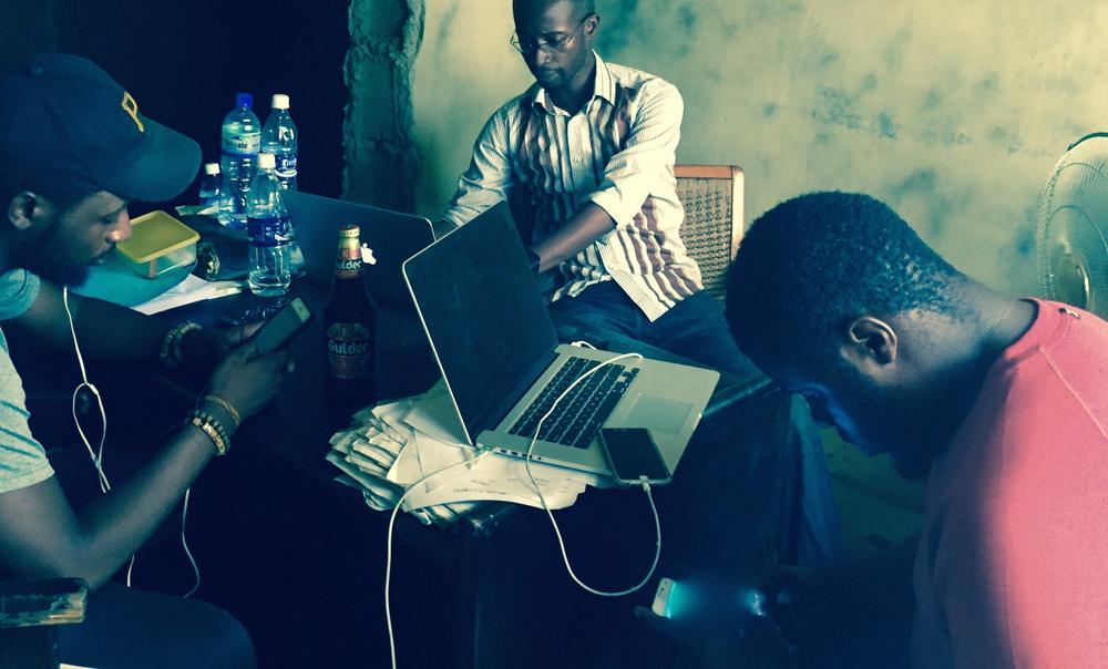 Dare, Femi & Baba on Set
