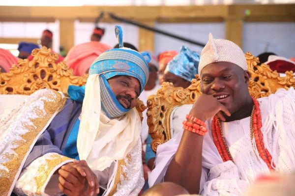 Emir of Kano and Ooni of Ife at the coronation of His Royal Majesty, Omo n'Oba n'Edo Uku Akpolokpolo, Oba Ewuare II, Oba of Benin, on Thursday