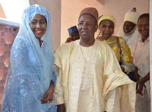 Daughter of the President, Fatima Buhari (L) with former Cheif Physician to the  President, Prof. Sadiq Wali during her wedding fatiha to Alhaji Yau Gimba Kumo in Daura, Katsina state on Friday (28/10/16) 8052/28/10/2016 /Otu Albert/BJO/NAN