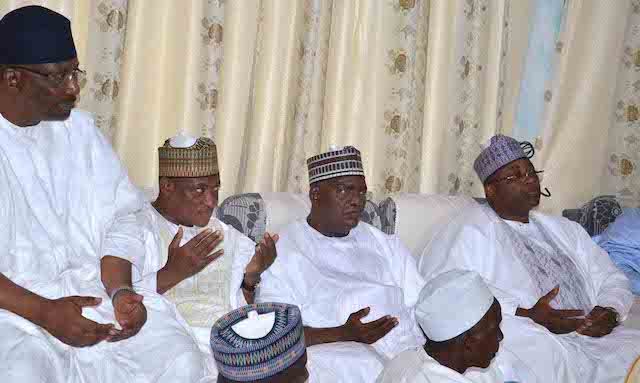 From left: Minister of Interior, retired Lt.-Gen. Abdulrahman Dambazau; Minister of Defence, retired Lt.-Gen. Mansur Dan-Ali; former governor of Gombe state, Sen. Danjuma Goje; and Gov. Mohammed Abubakar of Bauchi state, at the wedding fatiha of President Muhammadu Buhariís daughter, Fatima Buhari to Alhaji Yau Gimba Kumo in Daura, Katsina state on Friday (28/10/16) 8053/28/10/2016 /Otu Albert/BJO/NAN