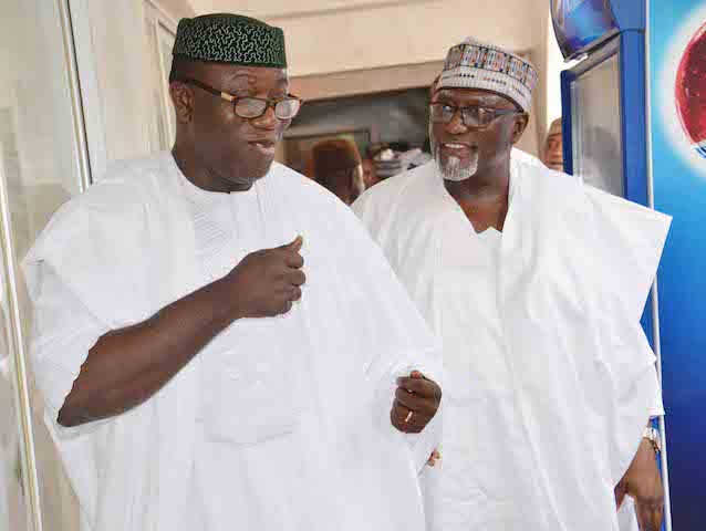 Minister of Mines and Steel Development, Dr Kayode Fayemi (L) and Director-General of the Department of State Service, Alhaji Lawal Daura, at the wedding fatiha of President Buhariís daughter, Fatima Buhari to Alhaji Yau Gimba Kumo in Daura, Katsina state on Friday (28/10/16) 8051/28/10/2016 /Otu Albert/BJO/NAN