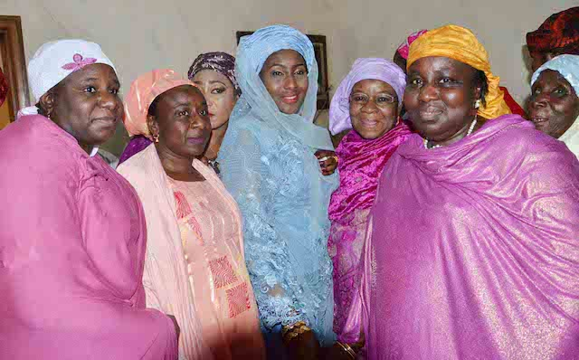 Daughter of the President, Fatima Buhari (M) with friends and relations during her wedding fatiha to Alhaji Yau Gimba Kumo in Daura, Katsina state on Friday (28/10/16) 8054/28/10/2016 /Otu Albert/BJO/NAN