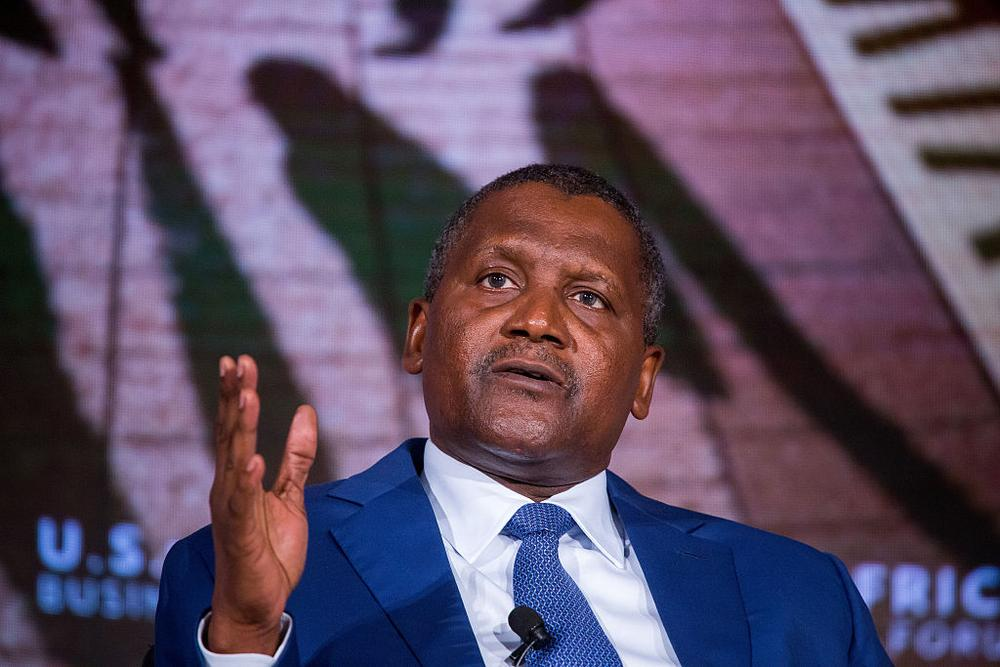 Aliko Dangote, president and chief executive officer of Dangote Sugar Refinery Plc, speaks during the U.S. Africa Business Forum in New York, U.S., on Wednesday, Sept. 21, 2016. The forum focuses on trade and investment opportunities on the continent for African heads of government and American business leaders. Photographer: Michael Nagle/Bloomberg via Getty Images