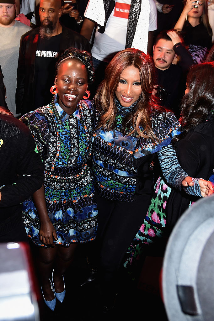 NEW YORK, NY - OCTOBER 19: Lupita Nyong'o and Iman attend KENZO x H&M Launch Event Directed By Jean-Paul Goude' at Pier 36 on October 19, 2016 in New York City. (Photo by Nicholas Hunt/Getty Images for H&M)