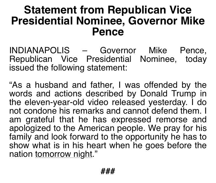 Mike Pence Statement on Donald Trump's Lewd Remarks about women.