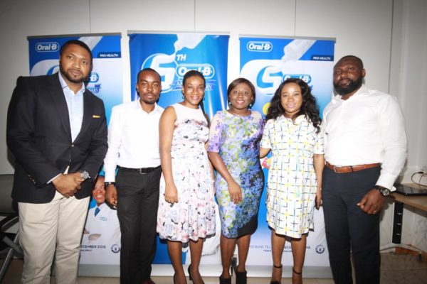 Ugo Okoye, CEO & Founder of iConcepts, Folarin Ojo- Assistant Brand Manager Oral B, Tolulope Adedeji- Brand Marketing Director P&G Nigeria, Ifeoma Chuks Adizue- Brand Manager Oral B, Tolulope Adedeji- Brand Marketing Director P&G Nigeria, Omolola Adenuga- Company Communication P&G Nigeria, Bunmi Fasae- General Manager Sales & Marketing of iConcepts